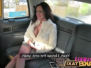 FemaleFakeTaxi Dating horny busty babe in stockings gets better squirting orgasm offer