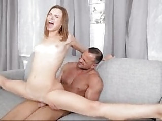 Skinny coed does the splits on her mans cock
