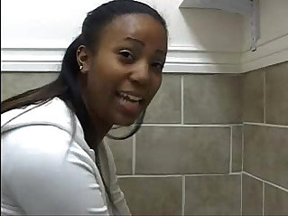 A few ghetto black girls peeing on toilet