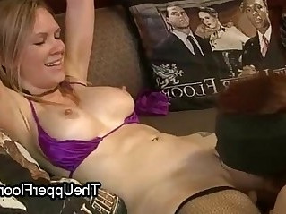 Busty bound babe made to lick pussy