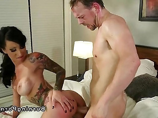Petite tattooed busty brunette Lily Lane fucking in bed