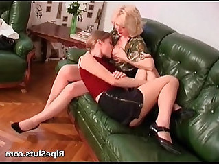 Busty mature slut and her young lesbian