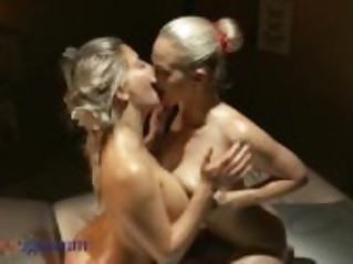Massage Rooms Blonde lesbian Milfs with tits lick and fuck