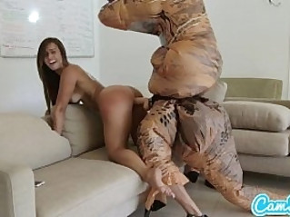 big ass latina teen chased by lesbian loving TREX on a hoverboard then gets fucked