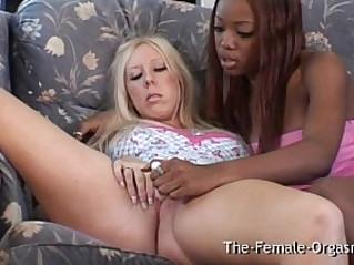 Interracial Lesbian Masturbation and Real Orgasms