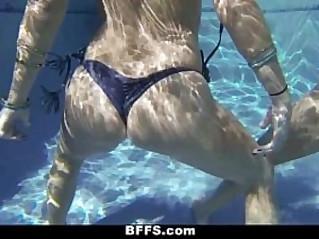 BFFS Lesbian Sex Pool Party!