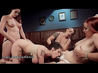 Busty lesbian slave anal gangbanged