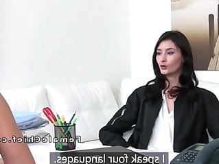 Slim model has lesbian sex in new agency